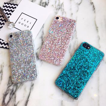 Case for iPhone 6 Case Silicon Bling Glitter Crystal Confetti Soft  Cover  for iPhone 6s Plus