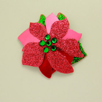 Magnetic Poinsettia Hand Painted Aluminum Brooch
