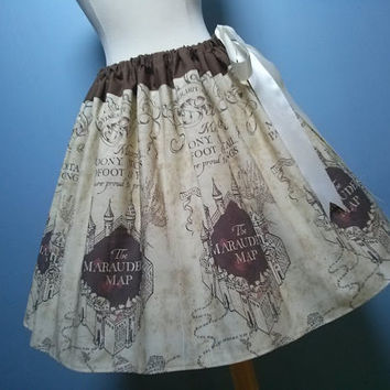 Beautiful Marauders Map Skirt, Harry Potter, Adjustable Waist Fits to size 28, Elastic Option, LOVE