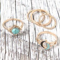 With Love From CA Double Moon Ring Set - Womens Jewelry - Gold