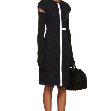 Thom Browne Navy And White Knit Half-cross Fitted Dress