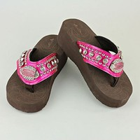 Rhinestone Bling Football Wedge Flip Flops Shoes Pink Football Mom Cheerleader