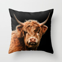 Highland Cow Throw Pillow by Linsey Williams Wall Art, Clothing, And