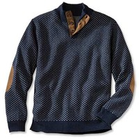 Navy Lambswool Mockneck Sweater For Men / Bird's Eye Lambswool Button Mock -- Orvis