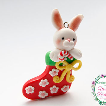 Christmas Rabbit Pendant | fimo pendant | polymer clay pendant | christmas pendant |  ornament | rabbit pendant | gift idea christmas |