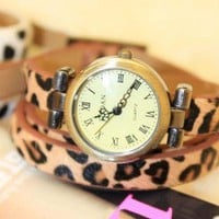 Fashion Weave Leather Bracelet Rhinestone Watch