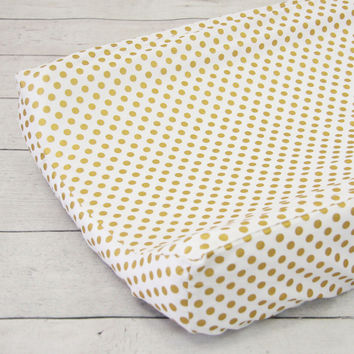 Gold and White Ruffle Baby Bedding | Metallic Gold Dots Changing Pad Cover