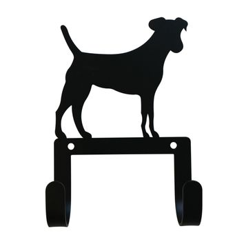Wrought Iron Jack Russell Dog Leash & Collar Wall Hook