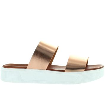 MIA Saige - Rose Gold Leather Dual Band Platform Slide Sandal