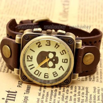 Vintage Black Leather Band Bracelet Quartz Wrist Skull Casual Watch Men Boy Retro Dark Brown