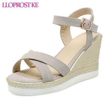 LLOPROST KE Fashion Woman   shoes Summer style female sandals high wedges heels platform open toe platform casual shoes dxj2193