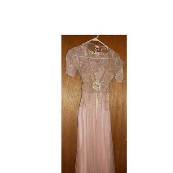 Vintage 40s 50s dress formal gown pink floral lace & shrug Clearance
