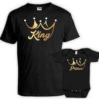 Father Son Matching Shirts Dad And Son Shirt Daddy And Me Clothing Matching Set Daddy And Son T Shirts King And Prince Bodysuit DN-607-609