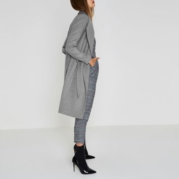 Grey belted robe coat