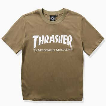 """THRASHER"" Hot sale fashion loose print short sleeve T-shirt green"