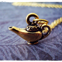 Gold Magic Lamp Necklace - Antique Gold Pewter Magic Lamp Charm on a Delicate 18 Inch Gold Plated Cable Chain