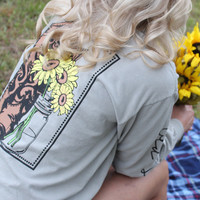 Boots & Sunflowers Long Sleeved Tee: Sandstone - Off the Racks Boutique