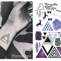 #391 Geometric Temporary Tattoos Triangle Tattoos Modern Style Unisex Body Tattoos.