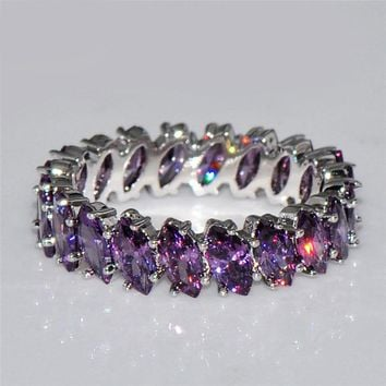 New Women Fashion 925 Silver Amethyst Ring Eternity Band New for Fall 2017