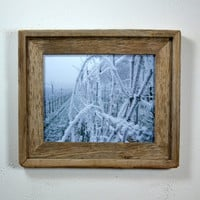 Winter grape vine print in 8x10 frame from reclaimed wood