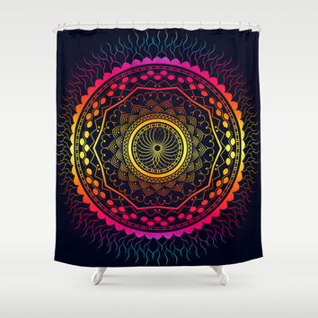 Psychedelic shower curtain, boho shower curtain, mandala bathroom decor, bathroom shower curtains, fabric shower curtain