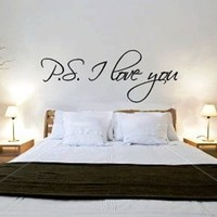"~Romantic Gift ~ ""P.S. I Love You"" Wall Art Decor Sticker -Tied w/Bow By JalieCo"