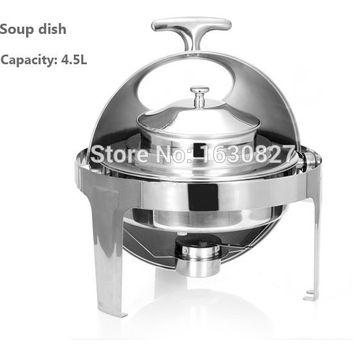 Hot Sale Stainless Steel Flip Round Buffet Chafing Dish With Window