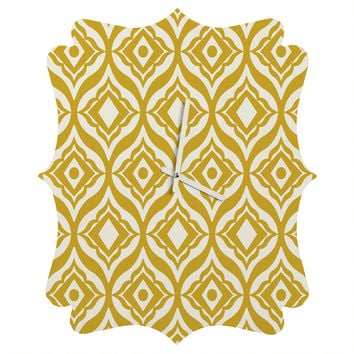 Heather Dutton Trevino Yellow Quatrefoil Clock