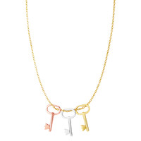 "14k 3 Color Yellow White And Rose Gold Key Charms On 18"" Necklace"