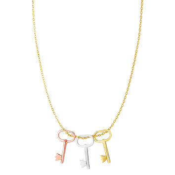 14K Tri-color Yellow White And Rose Gold Key Charms On 18 Inch Necklace