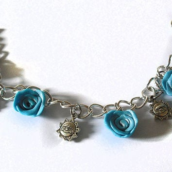 SALE Bracelet with Turquoise Blue Roses, Sun and Little Bell handmade in Cold Porcelain. Length 21 cm. Sale Outlet 20%
