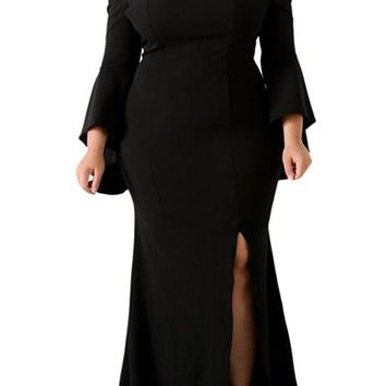 Chic Black Off Shoulder Slit Plus Size Maxi Dress