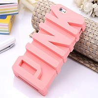 iPhone5C Case, JEPN 3D PINK big letters Silicone Case for the Apple iPhone5C - Powder