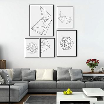 Minimalist Black Geometric Shape A4 Large Poster Print Modern Abstract Wall Art Picture Hipster Nordic Home Deco Canvas Painting
