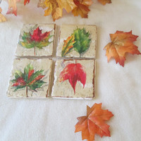 Fall Leaves Ceramic Coasters, Indian Summer Coasters - Rustic - Autumn - Shower Gift - Wedding Gift -  READY TO SHIP