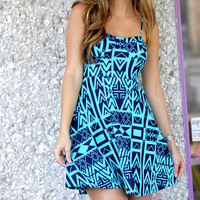 Egyptian Script Dress: Navy/Teal | Hope's