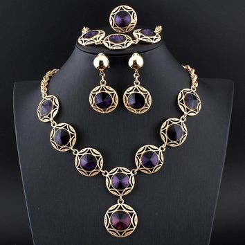jiayijiaduo Turkish blue wedding jewelry set Crystal Necklace Earrings Bracelet Rings for Women's Banquet Jewelry Gold color 17