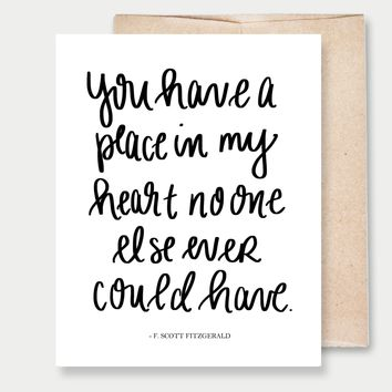 """""""Place In My Heart"""" Scott Fitzgerald - A2 Greeting Card"""