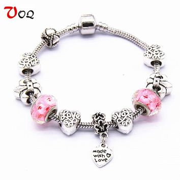 VOQ New Arrival Valentine's Day Bracelets for Women Girl Lovers Romantic Murano Glass Beads Charm Bracelet DIY Jewelry
