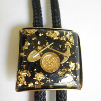 Rockabilly Bolo Tie Gold Fleck Lucite Pick Axe Gold Miner Black Cord Gift for Him 60s Country Western