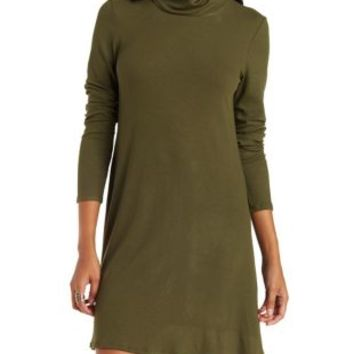 Olive Ribbed Turtleneck Shift Dress by Charlotte Russe