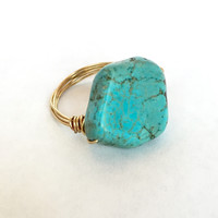 Natural Turquoise Stone Ring