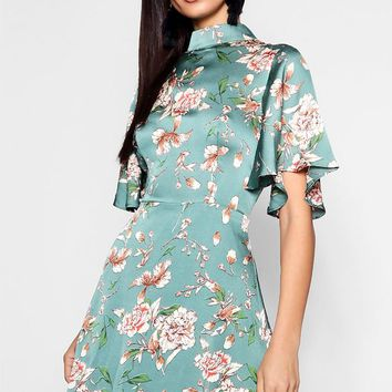 Mia Floral High Neck Skater Dress | Boohoo
