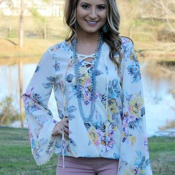 One Sweet World Floral Lace Up Top in Ivory