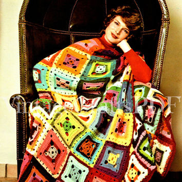 Flamboyant Granny Square Afghan 1970s Stash Busting Afghan Wildflowers Crochet-Easy Boho Home Decor-Blanket-Afghan Pattern-Vintage Boho Deco