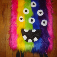 Crazy Face  Rainbow Fuzzy Monster Creature Backpack Purse