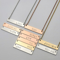 Personalized gifts Name bar necklace bridesmaid gifts hand stamped jewelry Birthday Gift Initial necklace Bible Verse Necklace