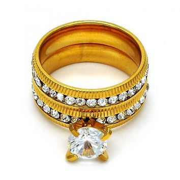 Stainless Steel Wedding Ring, with Crystal, Gold Tone