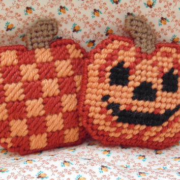 Halloween Jack-o-Lanturn Mini Pillow Needlepoint Pincushion Hallowen Decor