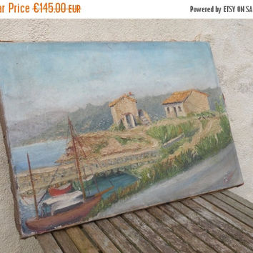 SALE-15% OFF Original French vintage oil painting. French painting. La Rochelle. French vintage art. French coastal painting. Shabby chic